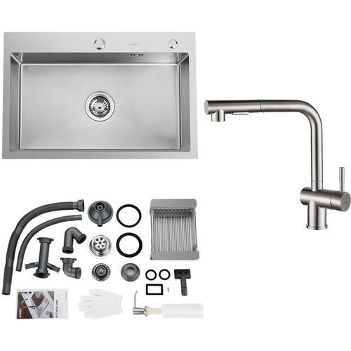 Rechteckige Küchenspüle 78 * 43CM Edelstahl Einbau Spülbecken ab 80er Unterschrank inkl.