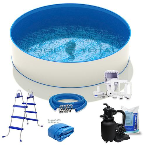 Pool Total - Pool-Set KOMFORT+ Ø 3,00 x 0,90m, 0,6mm Stahl, 0,8mm Folie mit Keilbiese