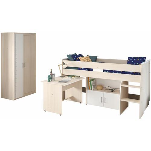 Kinderzimmer Charly 2-tlg Hochbett + Kleiderschrank grau - weiß - Parisot
