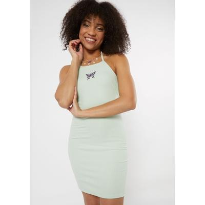 Rue21 Womens Mint Embroidered Butterfly High Neck Bodycon Dress - Size L
