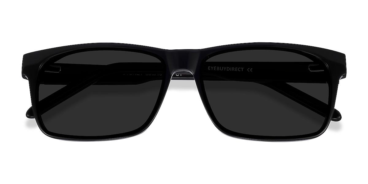 Unisex Rectangle Black Acetate Prescription sunglasses - EyeBuydirect's Sun Sydney