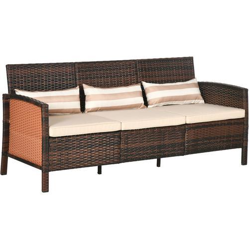 Outsunny® Rattan Sofa Outdoor Dreisitzer Garten Loungesofa mit Kissen Stahl Braun - braun