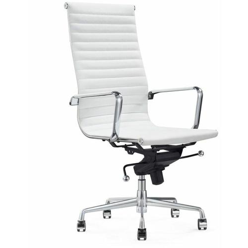 Leder-Chefsessel 'Madrid' - Weiß - 100% Echtleder - hohe Rückenlehne