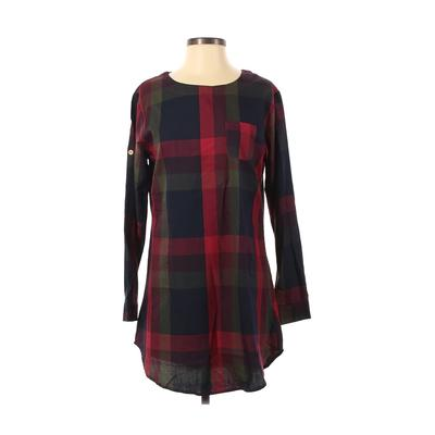 Casual Dress - Shift: Red Checkered/Gingham Dresses - Used - Size Small