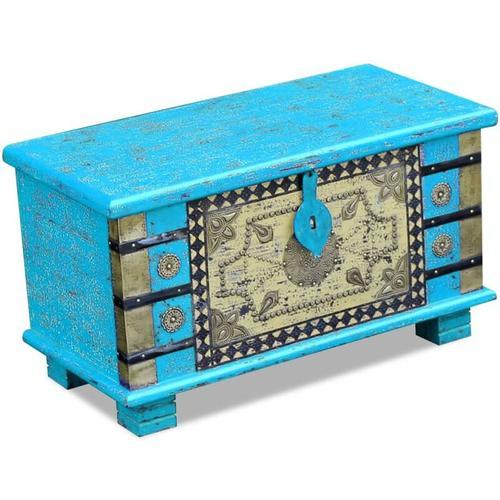Aufbewahrungstruhe Mangoholz 80x40x45cm Blau