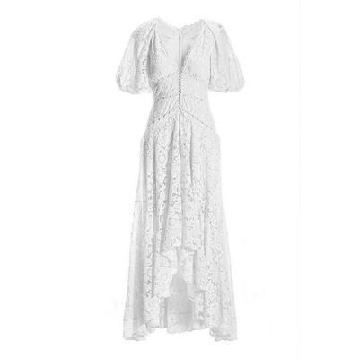 Boston Proper - Puff-Sleeve Lace High-Low Dress - White - 06