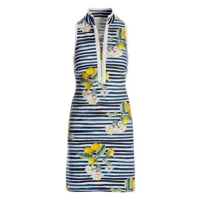 Boston Proper - Lemon Racerback Chic Zip Dress - Navy/white - Medium