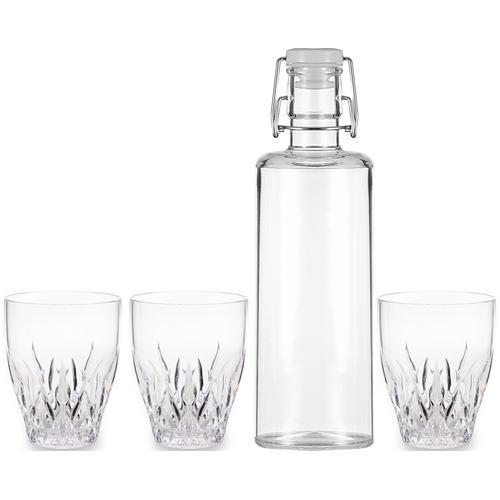 Q Squared NYC Gläser-Set, (Set, 4 tlg., 1 x Karaffe, 3 Wasserglas), (1 Gläser), aus sicherem Material - TRITAN-Kunststoff farblos Gläser-Sets Gläser Glaswaren Haushaltswaren Gläser-Set