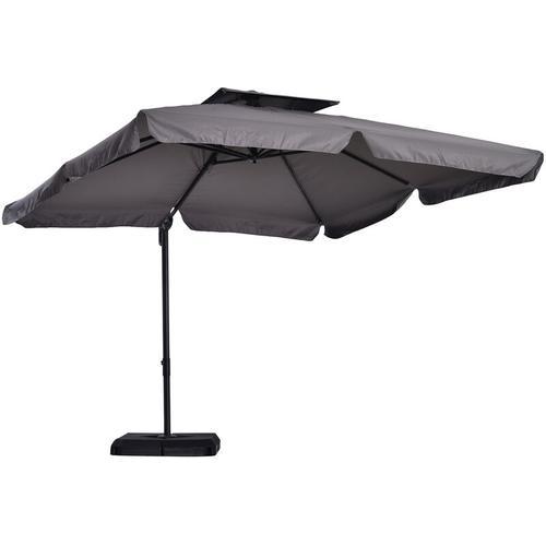 ® Balkon Sonnenschirm UV50+ Ampelschirm Ständer und 4 Gewichten inkl. Schutzhaube Alu - grau