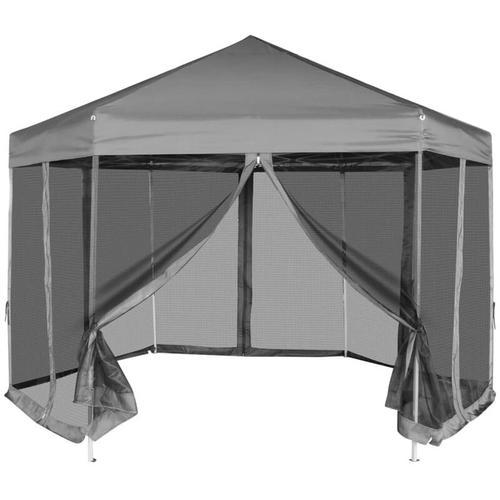 Vidaxl - Sechseckiges Pop-Up Festzelt mit 6 Seitenwänden Grau 3,6x3,1 m