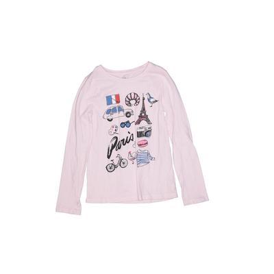 Gap Kids Long Sleeve T-Shirt: Pink Solid Tops - Size Medium