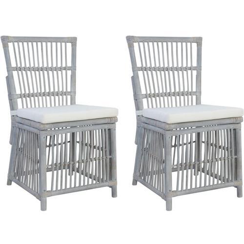 Esszimmerstühle mit Kissen 2 Stk. Grau Natürliches Rattan