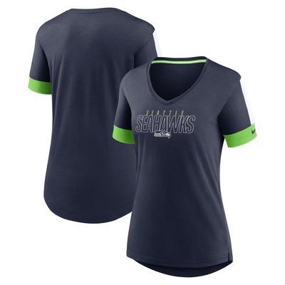 Women's Nike College Navy Seattle Seahawks Outline Fashion Performance Tri-Blend V-Neck T-Shirt