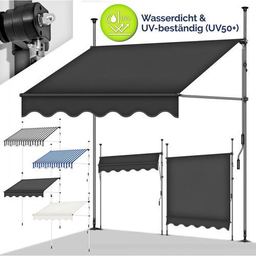 tillvex Balkonmarkise 200 cm Blau/Weiß Gelenkarm Markise Klemmmarkise Sonnenmarkise Balkon ohne