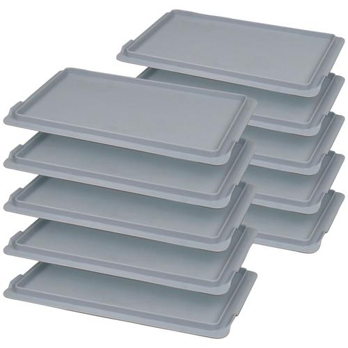 Aufbewahrungsbox Auflagendeckel, (10 St.), BxT: 30x20 cm, Polypropylen grau Kleideraufbewahrung Aufbewahrung Ordnung Wohnaccessoires