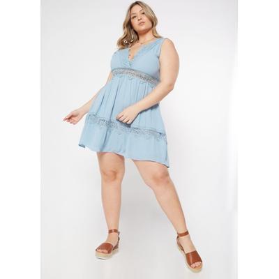 Rue21 Womens Plus Size Light Blue Crocheted V Neck Skater Dress - Size 2X