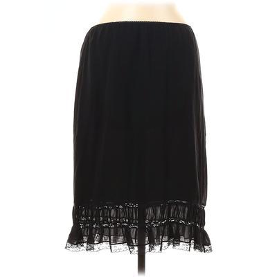 DKNY Silk Skirt: Black Solid Bottoms - Size Medium