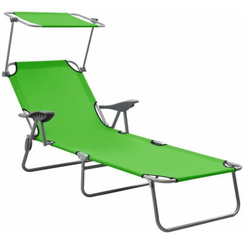 Sonnenliege mit Sonnenschutz Stahl Grün