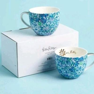 Lilly Pulitzer Kitchen | Lilly Pulitzer Mugs Set Of 2 Ceramic Floral Cups | Color: Blue/Purple | Size: 12 Ounces