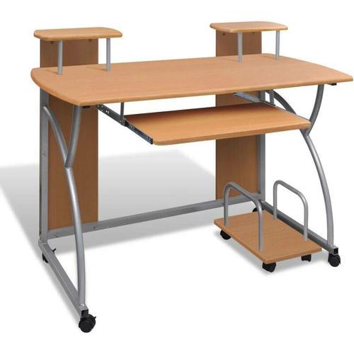 Topdeal - Computertisch PC Tisch Mobiler Computerwagen Bürotisch Laptop braun 07402