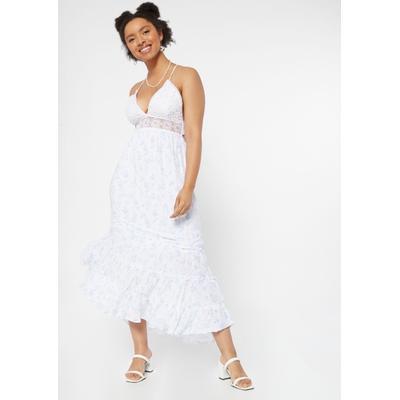 Rue21 Womens Blue Floral Print Crochet Waist Maxi Dress - Size M