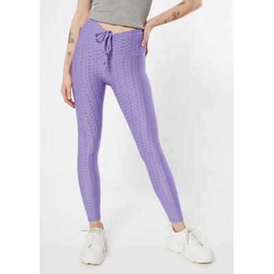 Rue21 Womens Neon Purple Honeycomb V Front Leggings - Size L