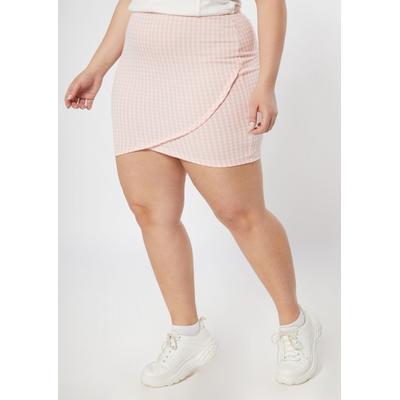 Rue21 Womens Plus Size Pink Gingham Tulip Hem Bodycon Skirt - Size 2X