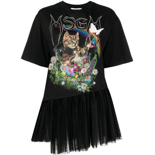 MSGM T-Shirt mit Katzen-Print
