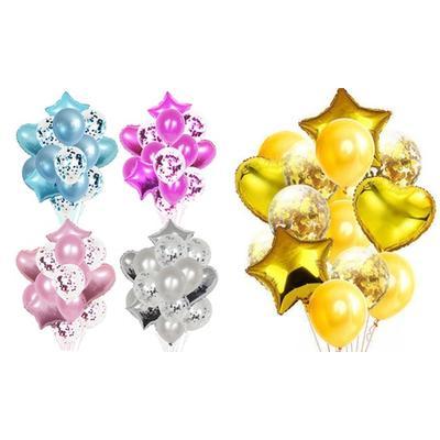 Lot de 14 ballons de décoration : x 2 / Or + Rose foncé