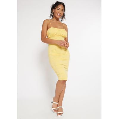 Rue21 Womens Yellow Ruched Bodycon Dress - Size Xl