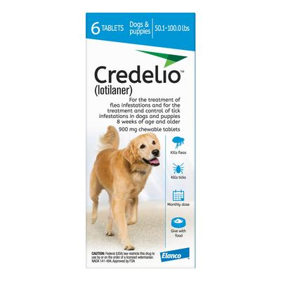 Credelio For Dogs 50-100 lbs (900mg) Blue 3 Doses