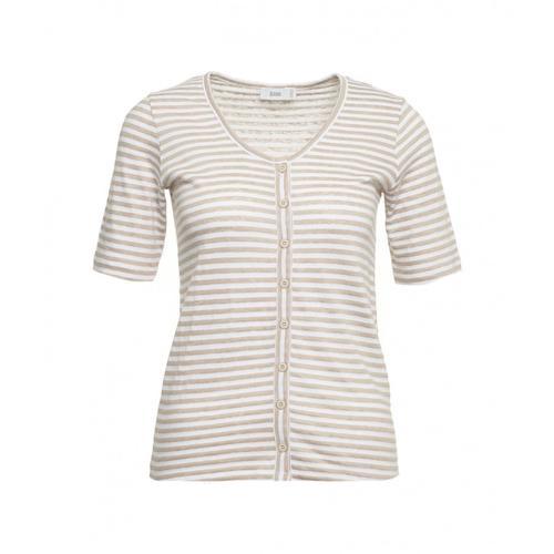 Closed Damen Gestreiftes T-Shirt mit Knöpfen Beige