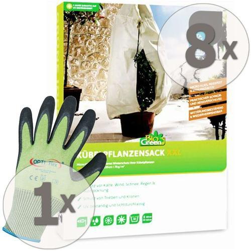 8 x BioGreen Winterschutz Kübelpflanzensack XXL 180 x 120 cm + Gratis Handschuhe