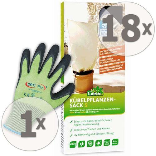 18 x Winterschutz Kübelpflanzensack XL 100 x 80 cm + Gratis Handschuhe - Biogreen
