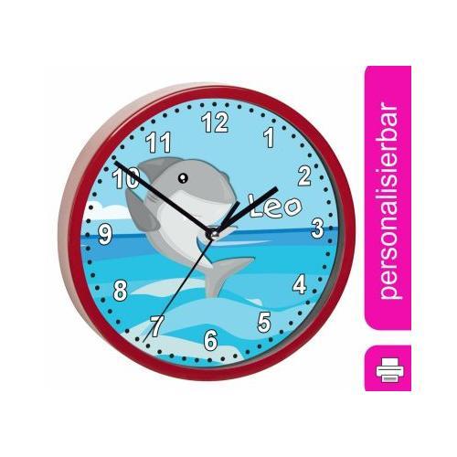 Kinder Wanduhr personalisiert mit Name Hai rot
