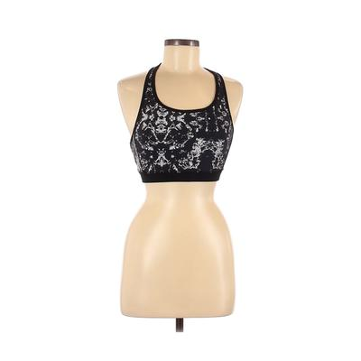Mona B Sports Bra: Black Color Block Activewear - Size Medium