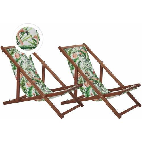 Beliani - Liegestühle 2er Set aus dunklem Akazienholz mit buntem Bezug zusammenklappbar