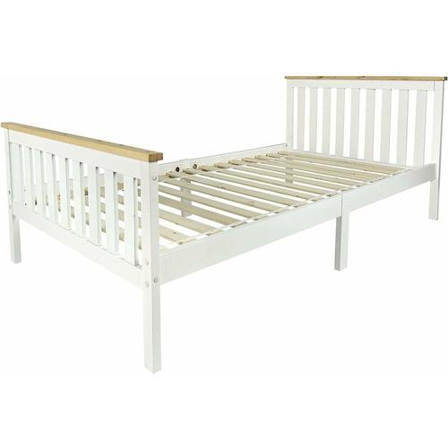 Weißes Massivholzbett mit Lattenrost - Milano Pinie - Holzbett für Kinder (200/90 cm)