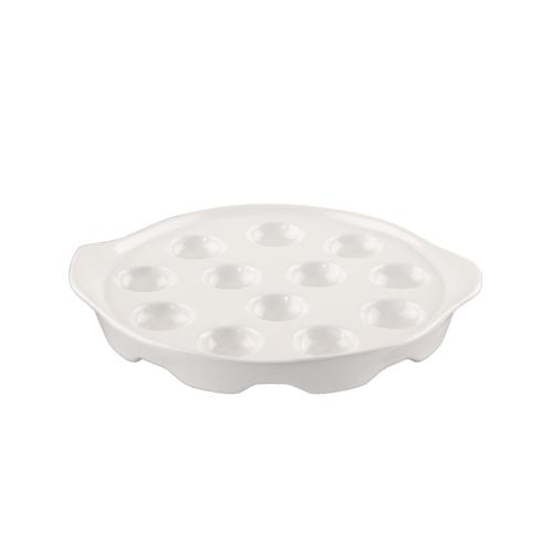 BigDean Porzellan Schneckenpfanne Schneckenteller mit Seitengriffen für 12 Schnecken Schneckenplatte