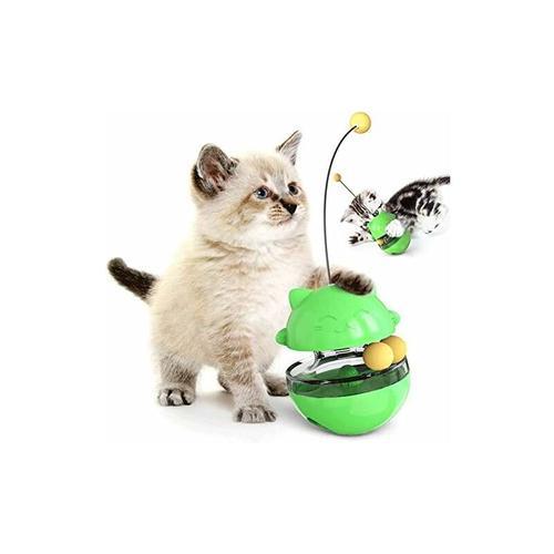 LITZEE Katzenspielzeug mit Kugel und Feder, Interaktives Katzenspielzeug mit Stock für Katze,