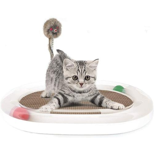 LITZEE Katzenspielzeug Katzenspielzeug aus Pappe Lounge Katzenspielzeug mit Maus und Frühlingsweiß
