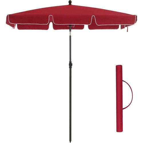 Sonnenschirm für Balkon, rechteckiger Gartenschirm, 200 x 125 cm, UV-Schutz bis UPF 50+, knickbar,