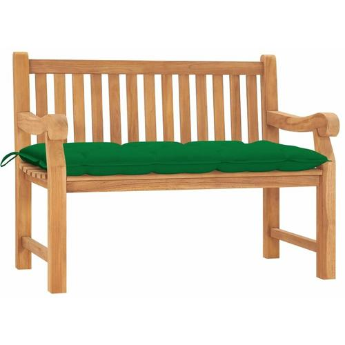 Gartenbank mit Kissen 120 cm Massivholz Teak