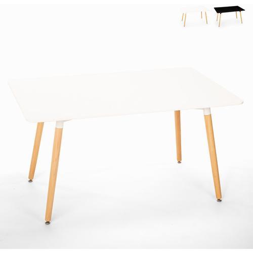 Rechteckiger Esstisch 120x80 Wooden Design Holz Corn   Farbe: Weiß