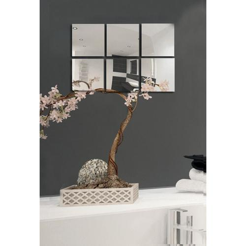 MSV Spiegel Spiegelfliesen Wandspiegel Fliesenspiegel selbstklebend 18 Stück - 10x10cm