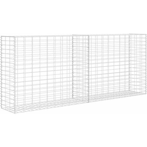 Gabionen-Steinkorb Stahl 85×30×200 cm Silbern