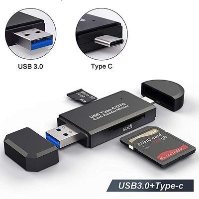 Lecteur de carte SD + USB 3.0 + USB-C + micro SD, lecteur de carte flash