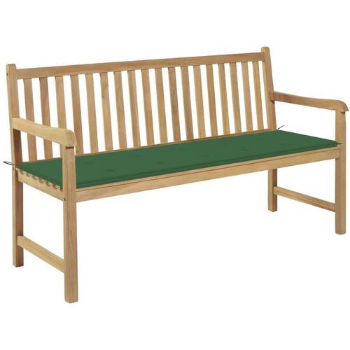 Gartenbank Massivholz Teak mit Grüner Auflage 150cm