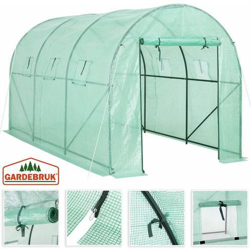 Gardebruk Foliengewächshaus 7m² aufrollbare Tür 6 Fenster Treibhaus Tomatenhaus Pflanzenhaus