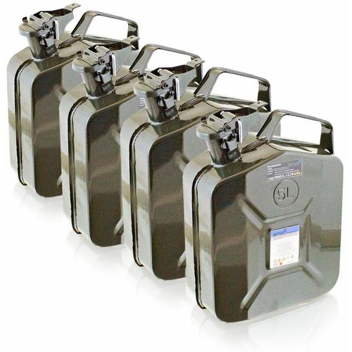 4x 5 Liter Stahl Benzinkanister Kraftstoffkanister Kanister UN Zulassung